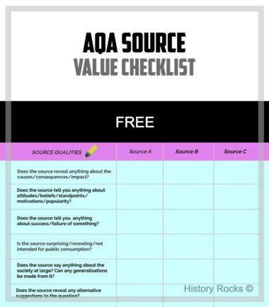 AQA Source Value Checklist