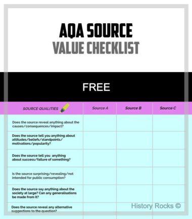 AQA Source Value Checklist